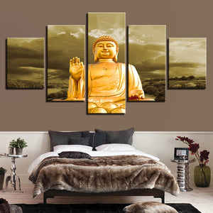 Gold Buddha 5 Piece HD Multi Panel Canvas Wall Art Frame