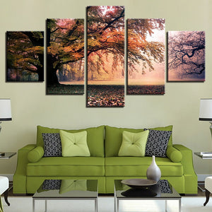 Trees in the Fall 5 Piece HD Multi Panel Canvas Wall Art Frame