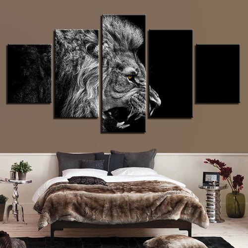Roaring Lion 5 Piece HD Multi Panel Canvas Wall Art Frame
