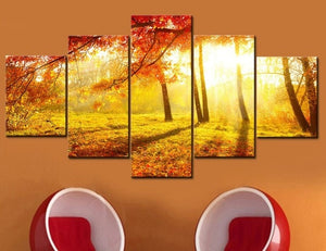 Autumn Sun 5 Piece HD Multi Panel Canvas Wall Art Frame