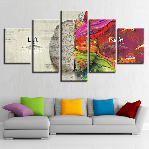 Abstract Color Brain Partition 5 Piece HD Multi Panel Canvas Wall Art Frame