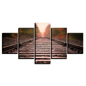 Autumn Train Track 5 Piece HD Multi Panel Canvas Wall Art Frame