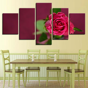 Beautiful Red Rose Flower 5 Piece HD Multi Panel Canvas Wall Art Frame
