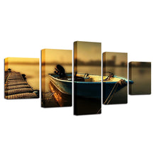 Boat at the Dock 5 Piece HD Multi Panel Canvas Wall Art Frame