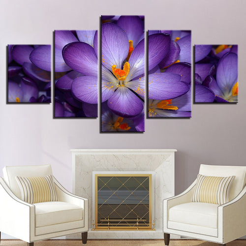 Purple Flowers 5 Piece HD Multi Panel Canvas Wall Art Frame