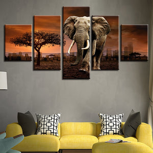 Elephant 5 Piece HD Multi Panel Canvas Wall Art Frame