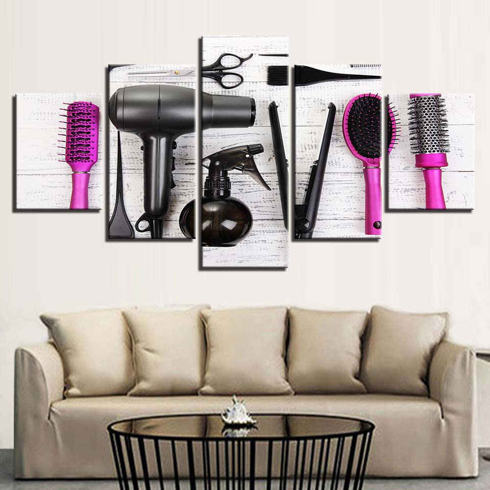 Hair Dryer 5 Piece HD Multi Panel Canvas Wall Art Frame