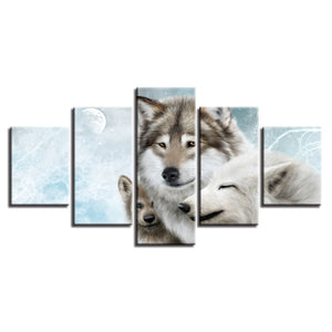 Wolf Family 5 Piece HD Multi Panel Canvas Wall Art Frame