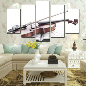 White Musical Instruments Violin 5 Piece HD Multi Panel Canvas Wall Art Frame