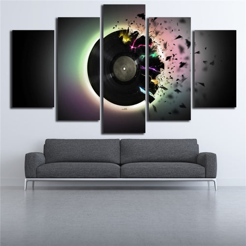 DJ Abstract 5 Piece HD Multi Panel Canvas Wall Art Frame