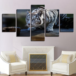 White Tiger 5 Piece HD Multi Panel Canvas Wall Art Frame
