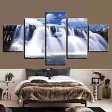 Mountain & Waterfalls 5 Piece HD Multi Panel Canvas Wall Art Frame