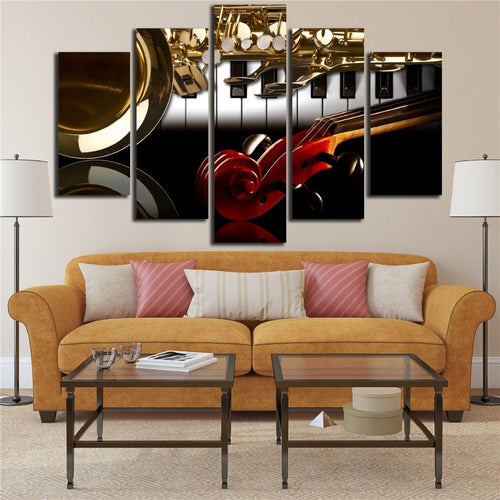 Musical Instruments 5 Piece HD Multi Panel Canvas Wall Art Frame