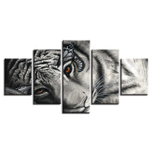 White And Black Sleeping Tiger 5 Piece HD Multi Panel Canvas Wall Art Frame