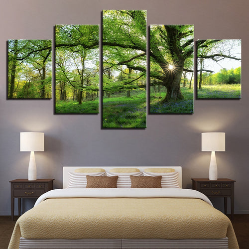 Green Trees Forest 5 Piece HD Multi Panel Canvas Wall Art Frame