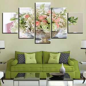 White Pink Flowers Bouquet 5 Piece HD Multi Panel Canvas Wall Art Frame