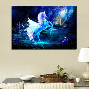 Unicorn Horse 1 Piece HD Multi Panel Canvas Wall Art Frame