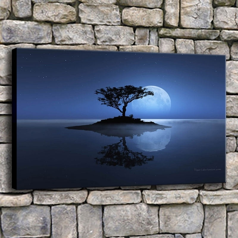 Lone Tree With Full Moon 1 Piece HD Multi Panel Canvas Wall Art Frame
