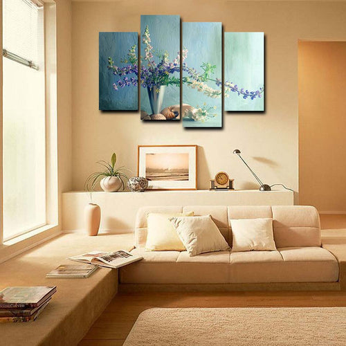 Flower Painting 4 Piece HD Multi Panel Canvas Wall Art Frame