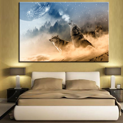 Wolves In Cloud 1 Piece HD Multi Panel Canvas Wall Art Frame