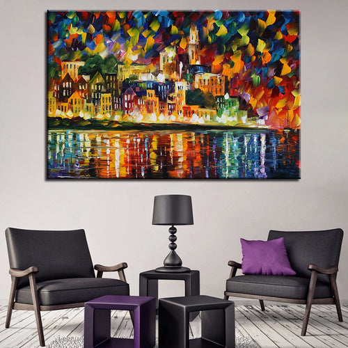 Colorful City View 1 Piece HD Multi Panel Canvas Wall Art Frame