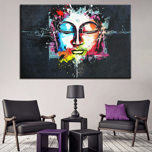 Watercolor Abstract Buddha Face 1 Piece HD Multi Panel Canvas Wall Art Frame