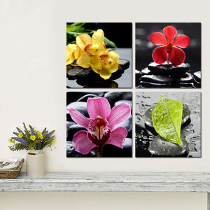Four Flowers 4 Piece HD Multi Panel Canvas Wall Art Frame