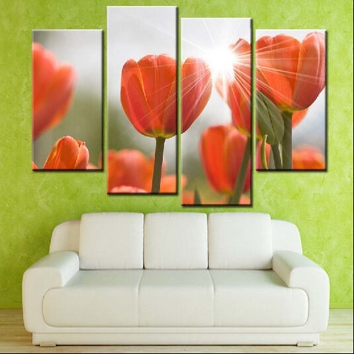 Sunlit Tulips 4 Piece HD Multi Panel Canvas Wall Art Frame