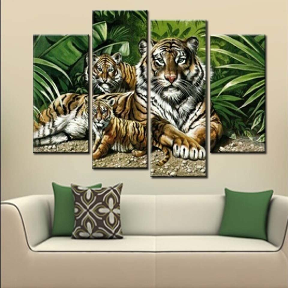 Tigers Family 4 Piece HD Multi Panel Canvas Wall Art Frame