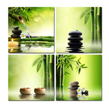 Candles & Bamboo 4 Piece HD Multi Panel Canvas Wall Art Frame