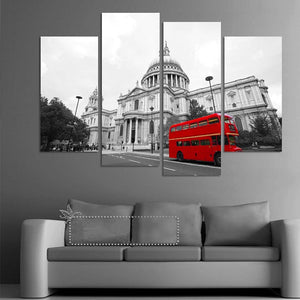 London Red Bus 4 Piece HD Multi Panel Canvas Wall Art Frame