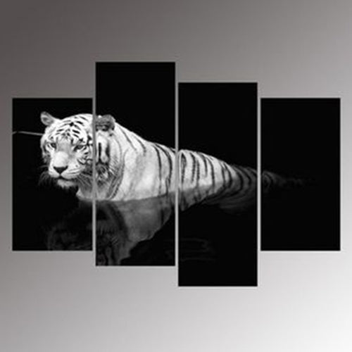 White Tiger in River 4 Piece HD Multi Panel Canvas Wall Art Frame