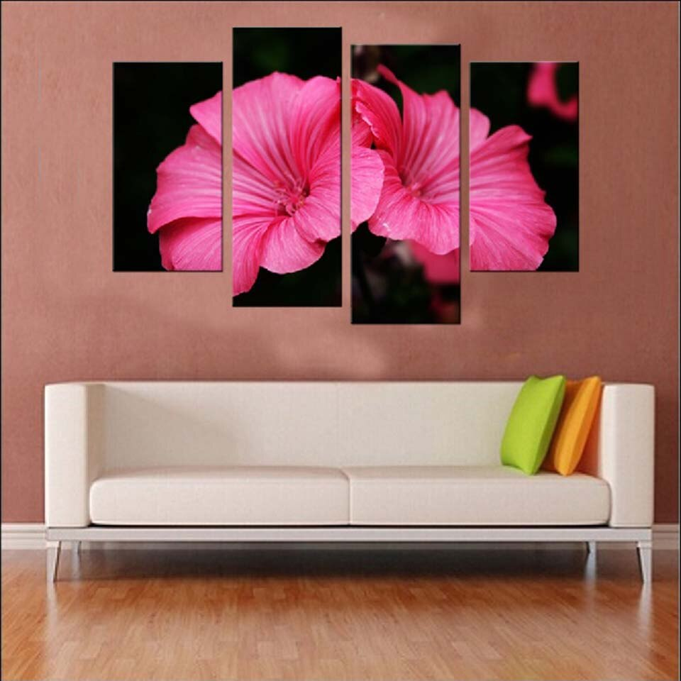 Pink Flowers 4 Piece HD Multi Panel Canvas Wall Art Frame