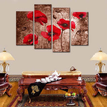 Red Flowers 4 Piece HD Multi Panel Canvas Wall Art Frame