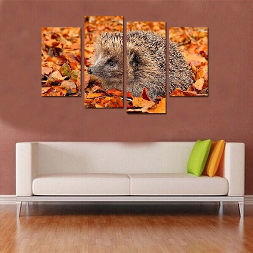 Hedgehog On The Fallen Leaves 4 Piece HD Multi Panel Canvas Wall Art Frame