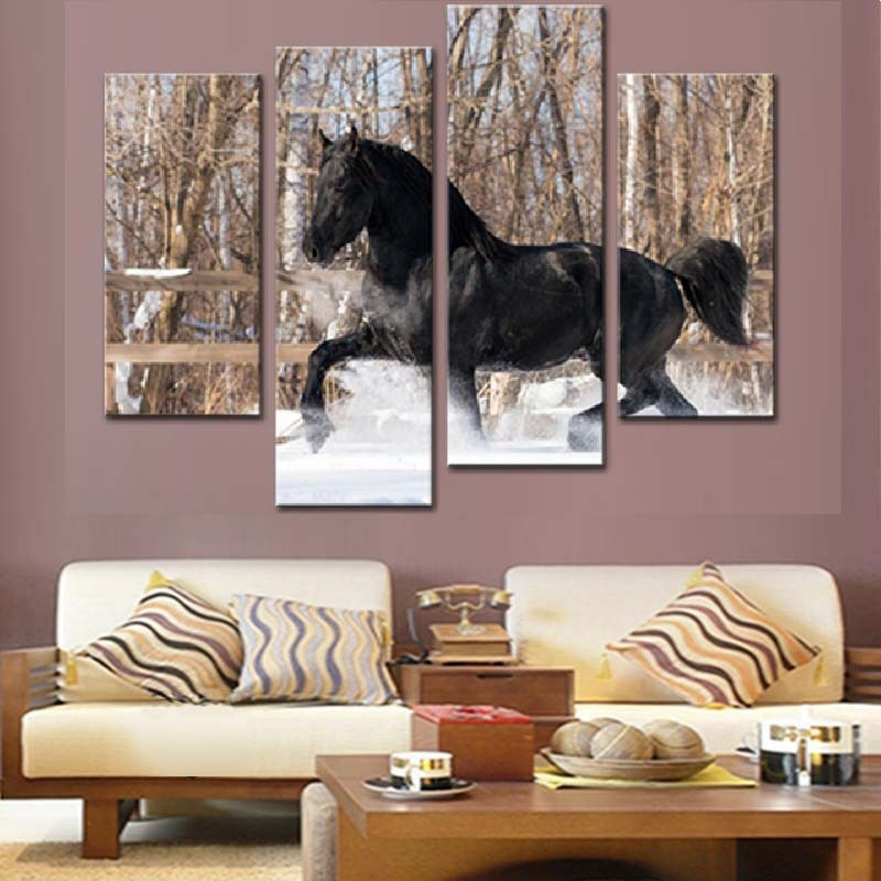 Running Black Horse 4 Piece HD Multi Panel Canvas Wall Art Frame