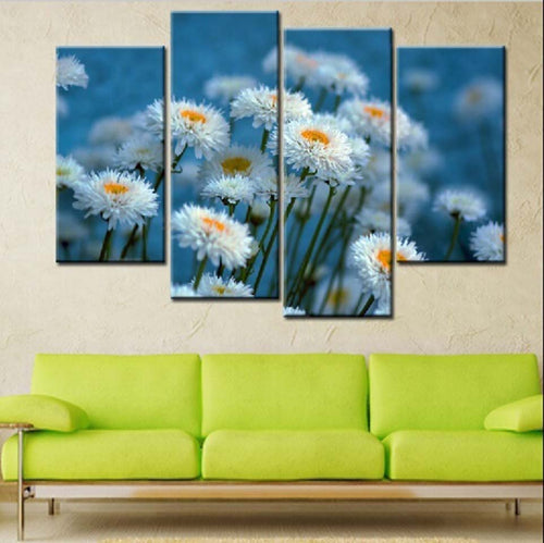 White Daisy Flowers 4 Piece HD Multi Panel Canvas Wall Art Frame