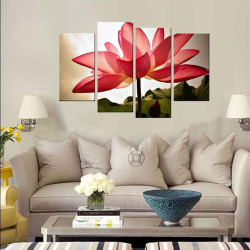 Pink Lotus Flower 4 Piece HD Multi Panel Canvas Wall Art Frame