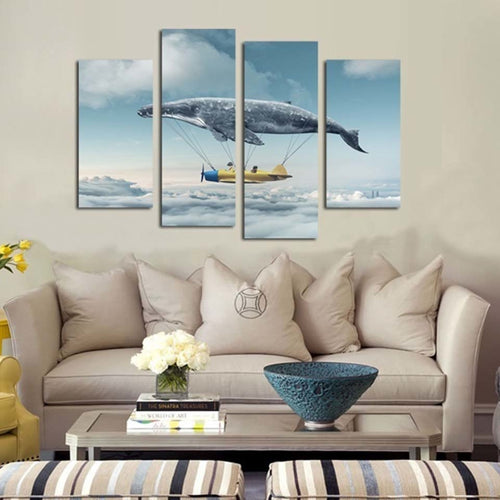 Whale Hot Air Balloon 4 Piece HD Multi Panel Canvas Wall Art Frame