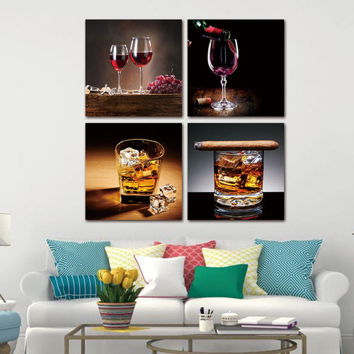 Wine & Drinks 4 Piece HD Multi Panel Canvas Wall Art Frame