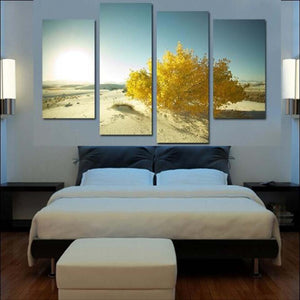 Yellow Tree In Desert 4 Piece HD Multi Panel Canvas Wall Art Frame