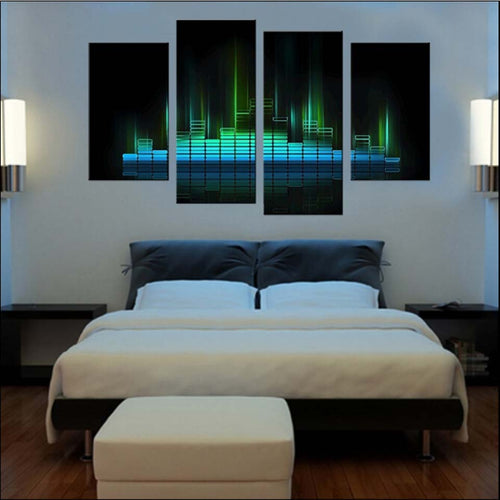 Music Melody Lights 4 Piece HD Multi Panel Canvas Wall Art Frame