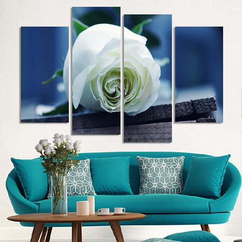 White Rose 4 Piece HD Multi Panel Canvas Wall Art Frame