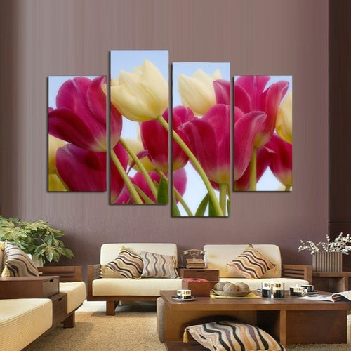 White Pink Tulips Flowers 4 Piece HD Multi Panel Canvas Wall Art Frame