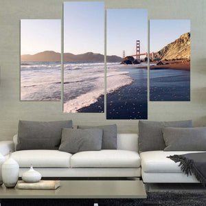 Beach Bridge 4 Piece HD Multi Panel Canvas Wall Art Frame