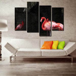 Flamingo Family 4 Piece HD Multi Panel Canvas Wall Art Frame