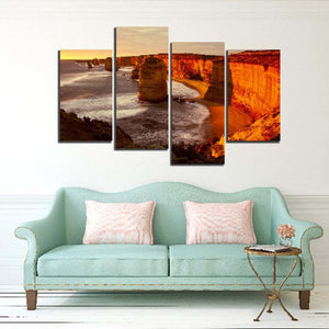 Sunset Sea Tide Rock 4 Piece HD Multi Panel Canvas Wall Art Frame