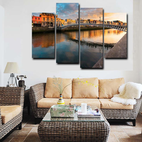 Modern Citys Bridge Lake 4 Piece HD Multi Panel Canvas Wall Art Frame
