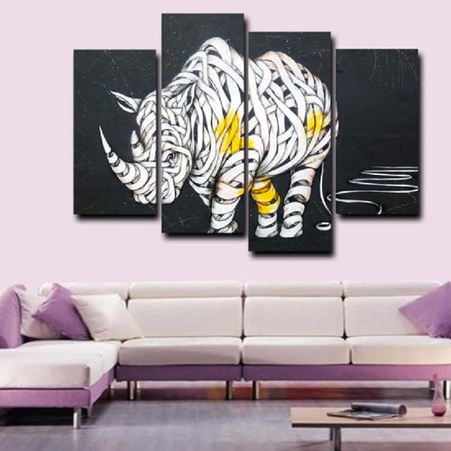 Artsy Abstract Rhino 4 Piece HD Multi Panel Canvas Wall Art Frame