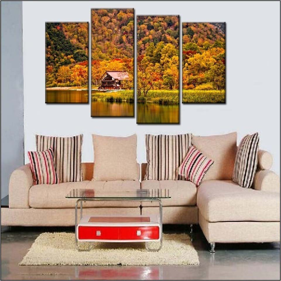 Mountain Forest House 4 Piece HD Multi Panel Canvas Wall Art Frame